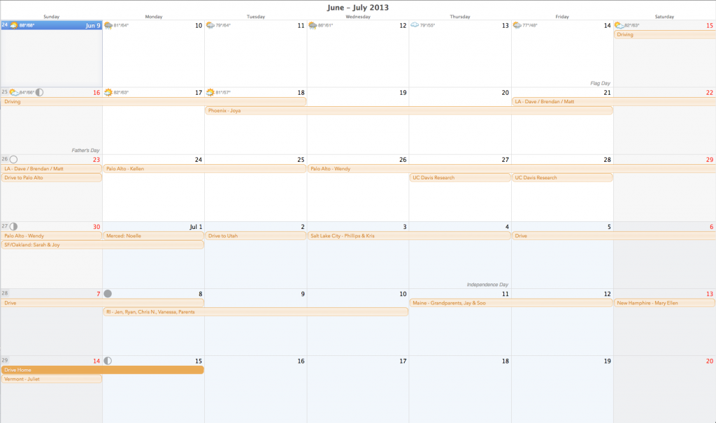 calendar of my summer trip